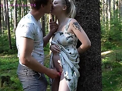 A pregnant woman with an egg gets a creampie in a deep woods while picking mushrooms